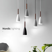 Nordic Denmark Design Simple Rubber Wood lamp Postmodern Restaurant E27 bulb light Personality Plating Iron Single pendant lamp
