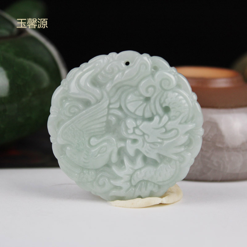 yu xin yuan Natural jade a dragon and phoenix with jade dragon and phoenix jade pendant купить недорого в Москве