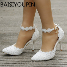 White Lace Flowers Women Wedding Shoes Wristband Bride Shoes One Word Buckle Thin Heels Ladies High Heels Sandals Big Size 41 42