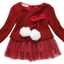2016 Hot Newborn Baby Girls Dress Knit Tops Lace Bowknot Dresses Kids Winter Autumn Spring Clothing 0-24M
