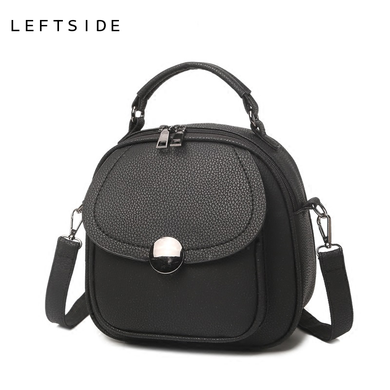 LEFTSIDE 2017 Fashion Women PU Leather Bags Small Crossbody Shoulder Bags Simple Vintage Women Messenger Bags