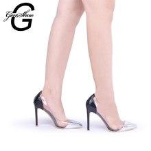 GENSHUO gümüş rugan kadın ayakkabısı yüksek topuklu elbise ayakkabı seksi şeffaf açık PVC bayan pompaları Stilettos