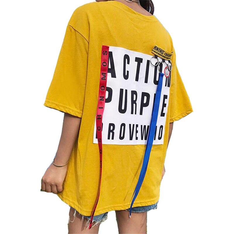 women summer t-shirt red blue ribbon ferrule casual print loose short sleeve female T shirt ulzzang Harajuku BF style 2018