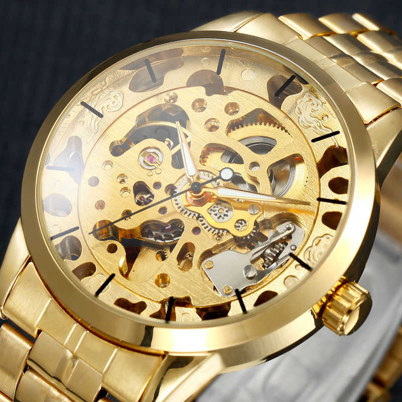 2017 Full Gold Color Mechanical Watch Automatic Self Wind Skeleton Wristwatches Male Man Silver Watches Hour
