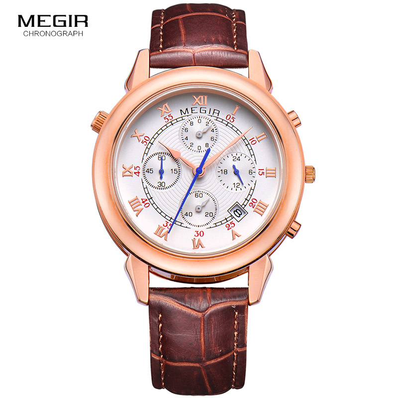MEGIR men's fashion leather quartz watch casual military style analog wrist watch man chronograph brand watches for male 2013