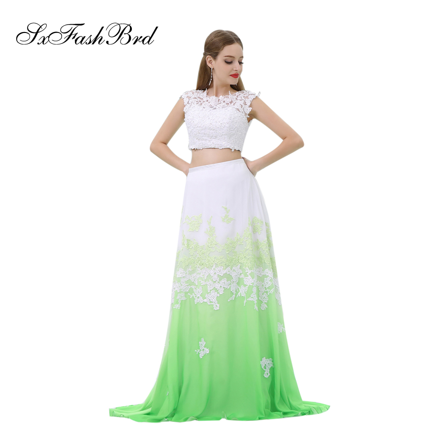 Vestido Branco O Neck With Appliques Crop Top Green Chiffon Formal Elegant   Dresses   Women Evening Party 2 Two Pieces   Prom     Dress