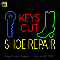 Neon Sign Keys Cut Yellow Shoe Repair Neon Light Sign Neon Bulb Handcraft Glass Tube Recreation