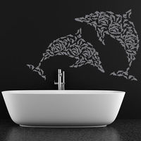 Creative Wall Decal Vinyl Removable Waterproof Home Decor Dolphins Wall Stickers Bathroom