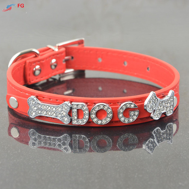 10MM Bling Personalized Pet Dog Collar with Rhinestone Letters and Charm Free Puppy Cat Dog Collars