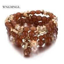 WNGMNGL New Fashion 4PCS/Set Women Bracelet Bohemian Natural Stone Beads Handmade Elasticity Bracelets&Bangle For Jewelry