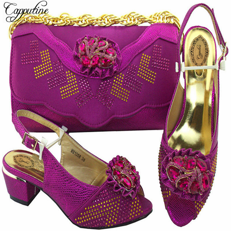 Capputine High Quality Italian Rhinestone Shoes And Bags Set For Party Nigeria Purple Shoes And Bag Set Size 38-43 MM10581 competitiveness and agricultural export performance of nigeria