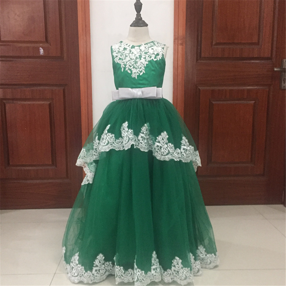 First Communion   Dresses   O-Neck Appliques Sleeveless Ball Gown Court Train   Flower     Girl     Dresses   for Weddings Vestidos Hot