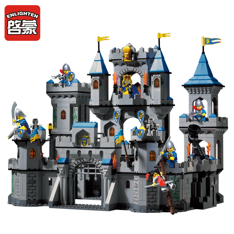 Enlighten New Building Block Set 1023 Medieval Lion Castle Knight Carriage Model Toys for Children brinquedos DIY castle and knight