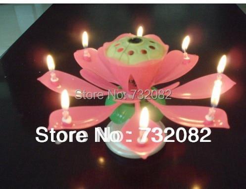 2015 Hot Sale Spinning Musical Birthday Candle Flower Lotus Sparkler Cake Topper Rotating E2714 Rose