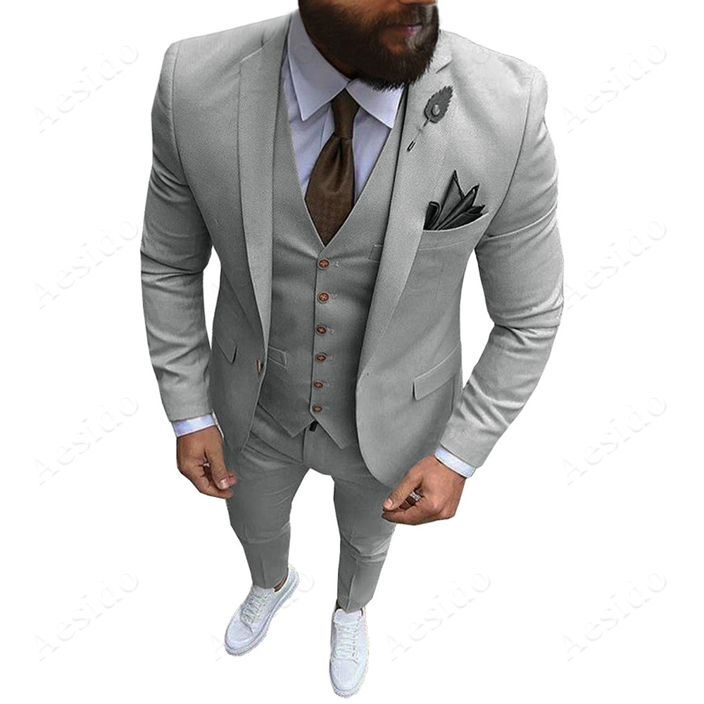 MEN/'S TWO PIECE ULTRA SLIM FIT SOLID SUIT ONE BUTTON JACKET FORMAL PROM WEDDING