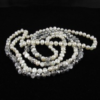 48 inches Long Pearl Necklace Gray Crystal Rhinestone Beads Natural Freshwater Nice Christmas Gift Jewelry Free Shipping