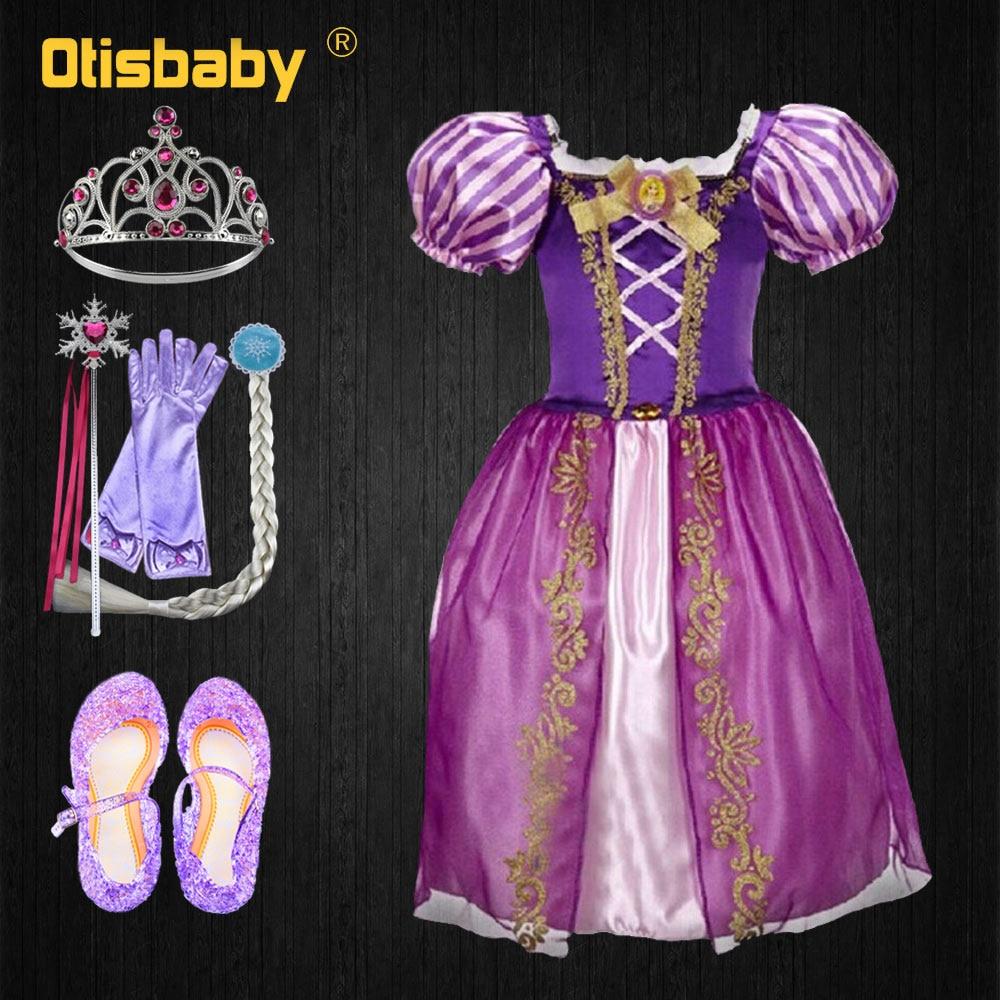 Christmas Princess Rapunzel Dress For Girls Toddler Girls Summer The Tangled Halloween Costume Child Rapunzel Wig Birthday Party