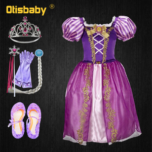 Christmas Princess Rapunzel Dress for Girls Toddler Girls Summer The Tangled Halloween Costume Child Rapunzel Wig Birthday Party(China)