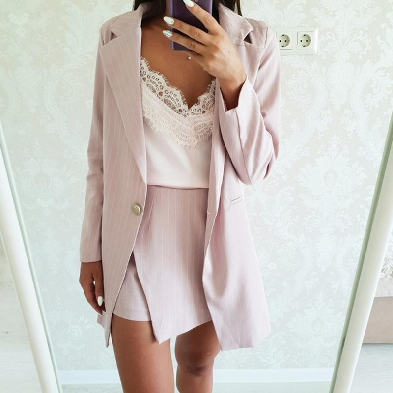 Fashion Women Skirt Suits One Button Notched Striped Blazer Jackets and Slim Mini Skirts Two Pieces OL Sets Female Outfits 19 6