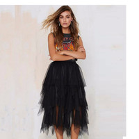 Tiered Tulle Skirt A Line Mid Calf Midi Skirt Custom Made High Fashion Women Skirt