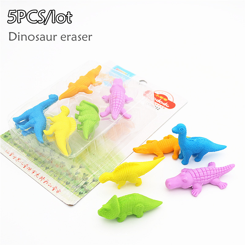 Eraser Office & School Supplies Genteel 5 Psc/lot Dinosaur Pencil Eraser School Student Childrens Cute Gift Prize Pencil Rubber Erasers For Kide Pure White And Translucent