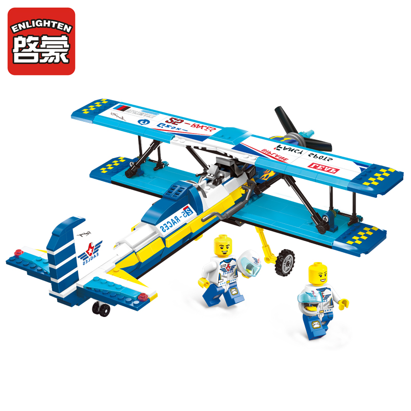 1125 ENLIGHTEN City Series Double Wings Show Aircraft Model Building Blocks Biplane Figure Toys For Children Compatible Legoe 1700 sluban city police speed ship patrol boat model building blocks enlighten action figure toys for children compatible legoe