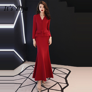 Image 2 - Resmi akşam elbise 2019 kırmızı v yaka uzun kollu Mermaid kat uzunluk müslüman kadınlar parti elbise artı boyutu Robe De Soiree e447