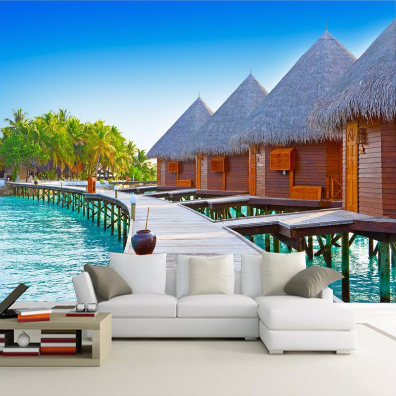 Custom 3d photo wallpaper wooden beach huts living room - Tapices para sofas ...