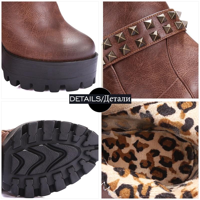 marron Semelle Épais Épaisse forme gris Wetkiss Rivets Courtes Chevalier Femmes camel Haute Talons Noir Chaussures Vintage 2018 Plate Mode Bottes gX71Tw