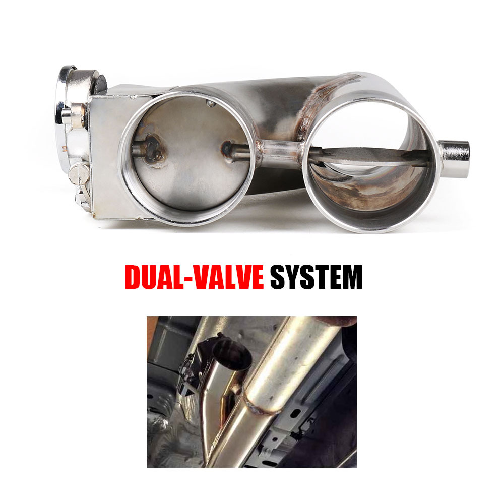 """JDM 2.5/""""//3/"""" Electric Exhaust Dump Cutout E-cut Out Bypass//Switch Dual-Valve Syst"""
