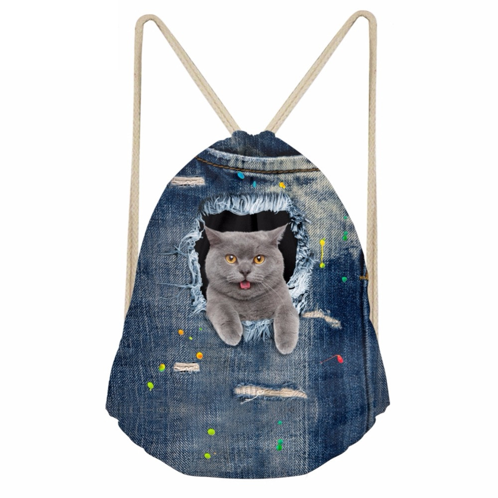 Funny 3D Pocket Denim Shorthair Cat Printed Girls Drawstrings Bags Casual Simple Children Schoolbags Soft BackpacksSumka