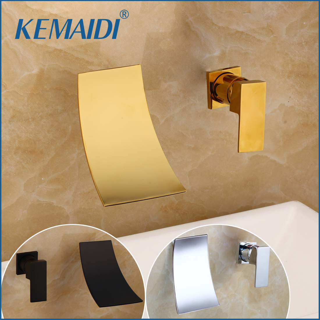 KEMAIDI Waterfall Spout Basin Faucet Single Lever Chrome Gold Bathroom Washing Basin Tap Widespread Lavatory Sink