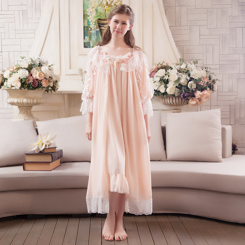 Retro Princess Nightgowns 2019 NEW Sweet Lace Women Long Nightdress Two Piece Bathrobes Elegant Lady Sleeping Dress P702 in Nightgowns Sleepshirts from Underwear Sleepwears