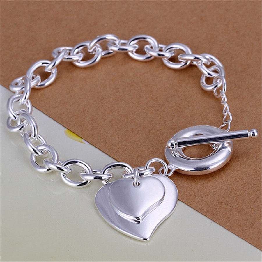Metal Charm Bracelets: Silver Plated Double Heart Brand Charm Women Lady Cute