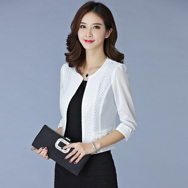 Jaqueta Feminina 2017 Summer Business Women Gauze Mesh Cardigan Short Jackets Ladies Black/White Slim Hollow Out Thin Outwear