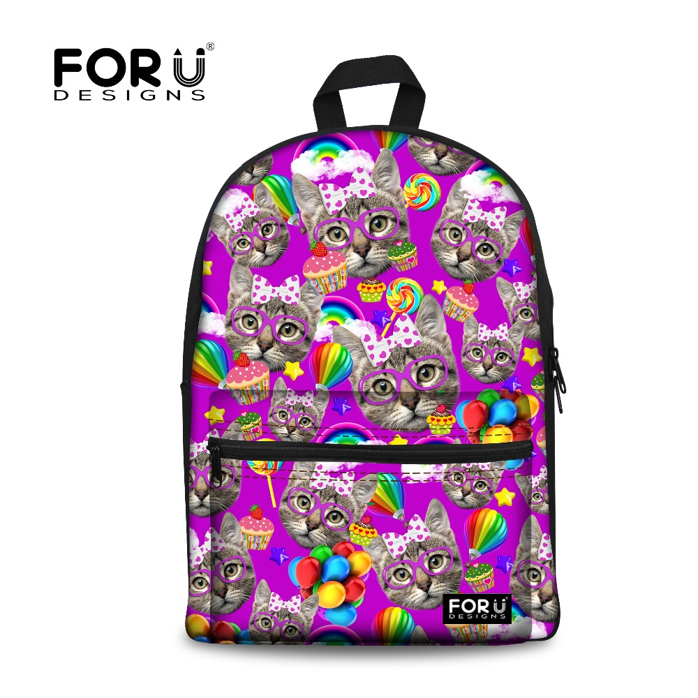 purple cute kitty cat women canvas backpack for teenage girls animal school backpacks for student casual laptop black cat bags