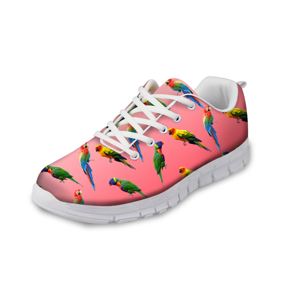FORUDESIGNS Pink Autumn Ladies Flats Shoes Cute Animal Parrot Prints Casual Breathable Shoes for Women Fashion Girls Flat Shoe forudesigns casual women flats shoes woman fashion graffiti design autumn lace up flat shoe for teenage girls zapatos mujer 2017