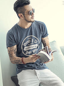 Retro T-Shirt Short-Sleeve Letters Street-Trend Round-Neck Printing Slim Men's Casual