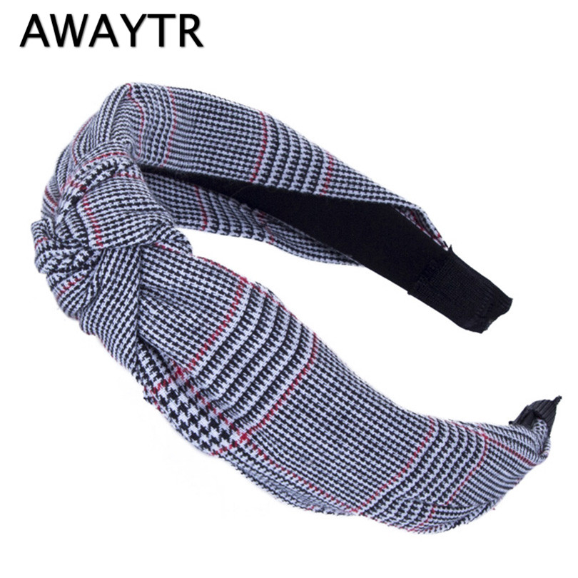 AWAYTR Knot Headband Adults 2019 New Striped Plaid Cotton Women Hairbands Korean Casual Wide Knotted Hair Accessories Headwear