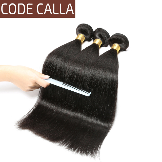 Code Calla Peruvian Unprocessed Raw Virgin Human Hair Extension Straight Weave 1/3/4 PCS Bundles Natural Black Color For Women