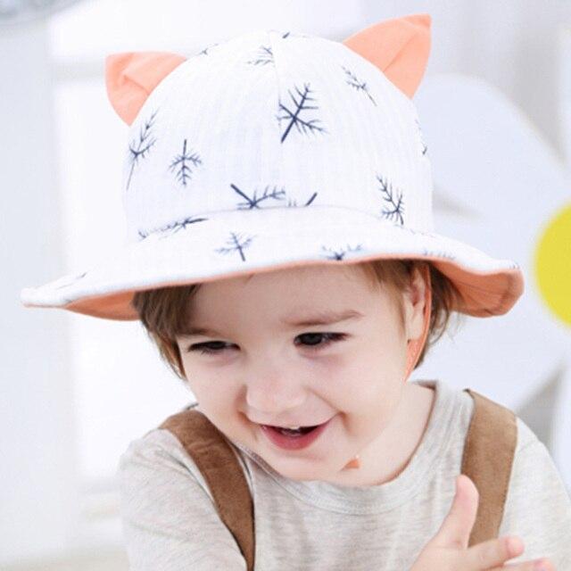 Nuevo sombrero del oído del gato flor imprimir algodón bebé niños ...
