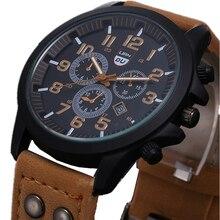 Moderní pánské hodinky sportovního vzhledu s koženým náramkem