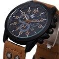 2016 Novos Negócios Corium Pulseira de Couro relógio relógio de Quartzo Dos Homens do esporte Militar Relógios Homens do exército relógio de pulso horas de relógio Calendário Completo