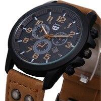 2015 New Business Quartz Watch Men Sport Military Watches Men Corium Leather Strap Army Wristwatch Clock