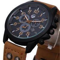 2017 nouvelle montre à Quartz d'affaires hommes sport militaire montres hommes Corium bracelet en cuir armée montre-bracelet heures calendrier complet