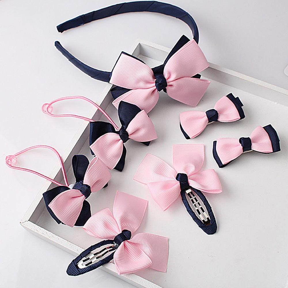 7 pcs Bowknot   Headwear   Set Children Accessories Printing Headband Hair clip Gum for Hair Hairband for Girls Headdress Hairpins