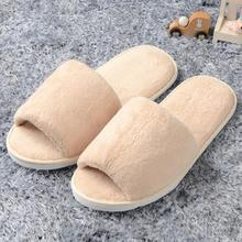 Women & Men Open Toe Winter Slippers Warm Slippers Female Plush Slides Indoor Bedroom Unisex Casual Shoes цена в Москве и Питере