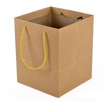 Фреш цветы квадрат коричневый бумага сумочка для подарка покупки сумка-тоут подарки реклама мешок
