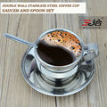 120ml high quality stainless steel coffee cup saucer and spoon set stainless steel double wall coffee mug