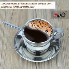 120 ml hochwertigem edelstahl kaffeetasse untertasse und löffel set edelstahl doppelwand kaffeetasse
